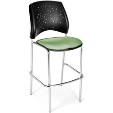 Stars Cafe Height Chair with Fabric Seat and Chrome Frame - Sage Green
