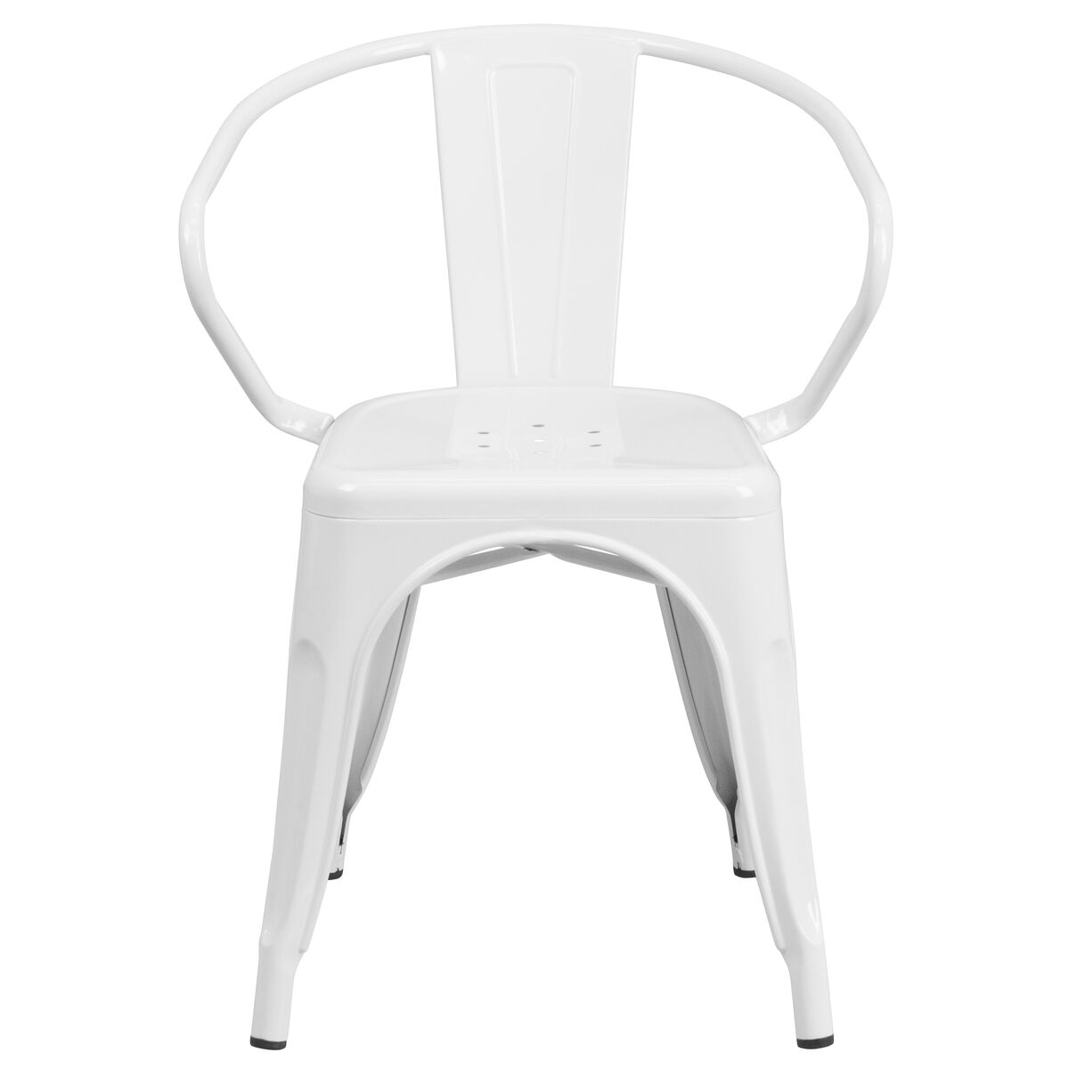 Our White Metal Indoor Outdoor Chair With Arms Is On Now