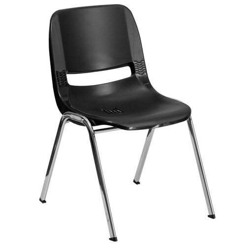 Our HERCULES Series 440 lb. Capacity Black Ergonomic Shell Stack Chair with Chrome Frame and 14