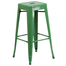 """Commercial Grade 30"""" High Backless Green Metal Indoor-Outdoor Barstool with Square Seat"""