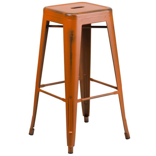 "Our Commercial Grade 30"" High Backless Distressed Orange Metal Indoor-Outdoor Barstool is on sale now."