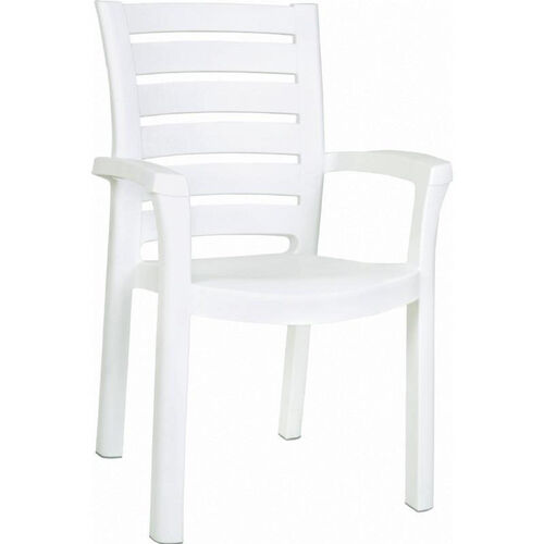 Marina Outdoor Resin Stackable Dining Arm Chair - White