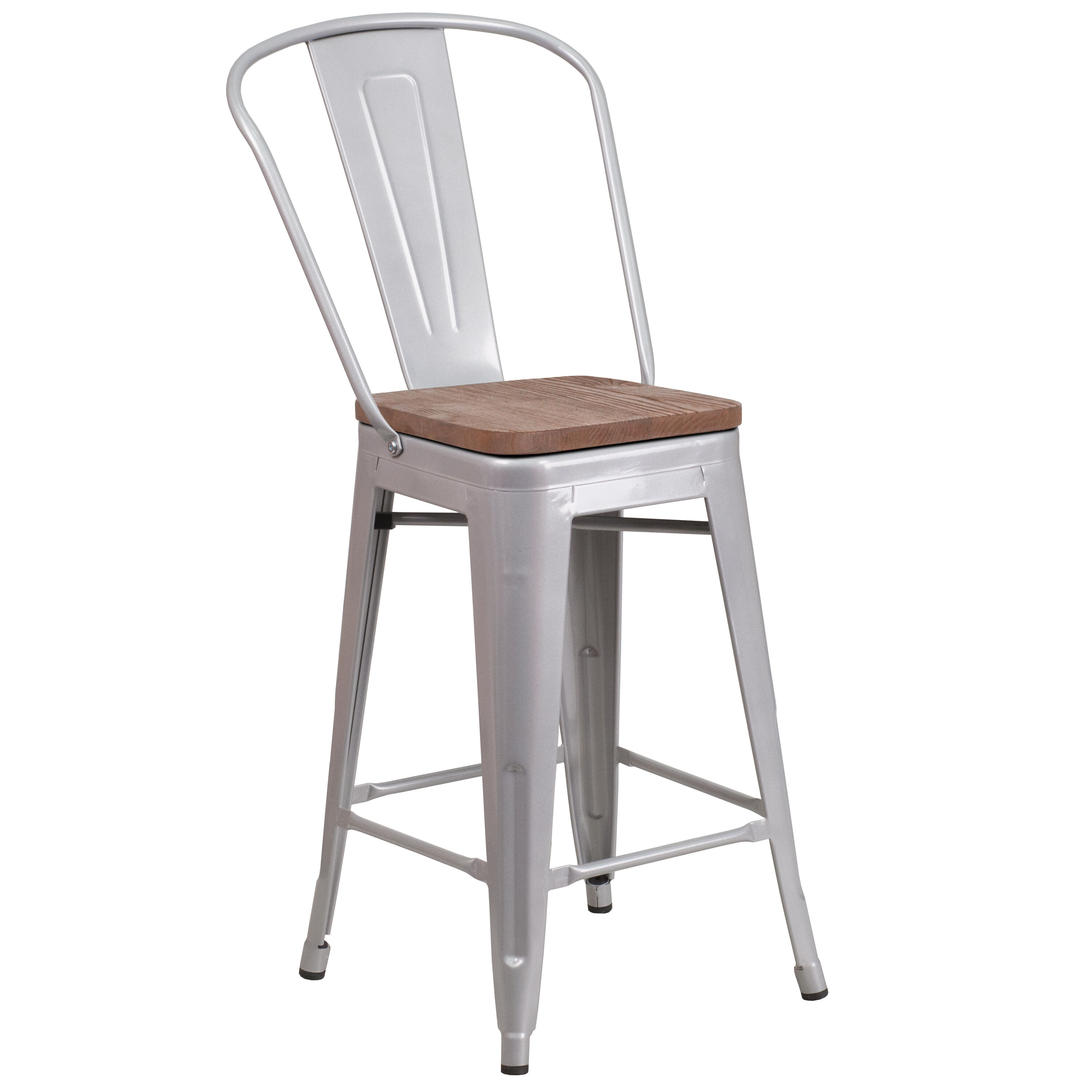 24 Silver Metal Counter Stool Ch 31320 24gb Sil Wd Gg