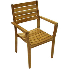 Vegas Natural Unfinished Weathered Stackable Plantation Teak Arm Chair