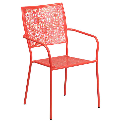 Our Commercial Grade Coral Indoor-Outdoor Steel Patio Arm Chair with Square Back is on sale now.