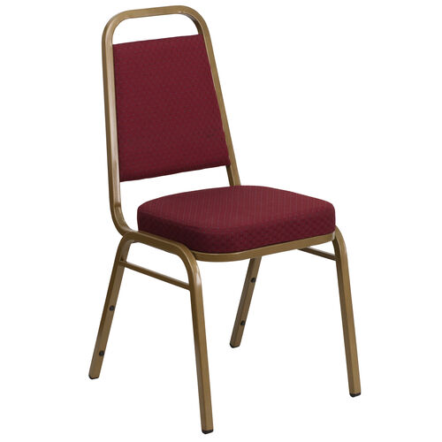 Our HERCULES Series Trapezoidal Back Stacking Banquet Chair in Burgundy Patterned Fabric - Gold Frame is on sale now.