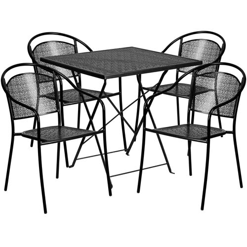 """Our Commercial Grade 28"""" Square Black Indoor-Outdoor Steel Folding Patio Table Set with 4 Round Back Chairs is on sale now."""