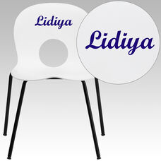 Personalized HERCULES Series 770 lb. Capacity Designer White Plastic Stack Chair with Black Frame