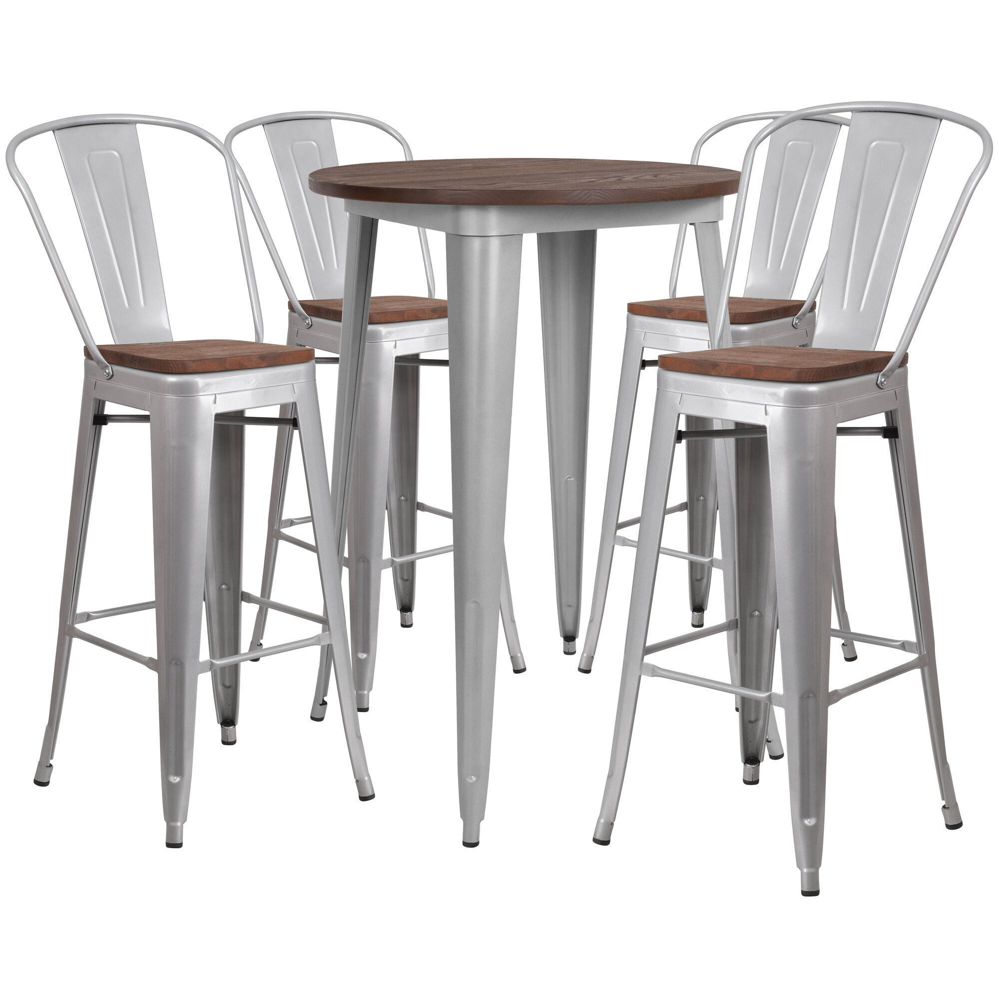 Outstanding 30 Round Silver Metal Bar Table Set With Wood Top And 4 Stools Onthecornerstone Fun Painted Chair Ideas Images Onthecornerstoneorg