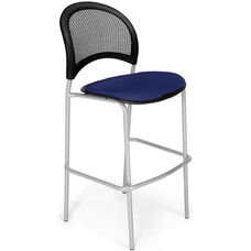 Moon Cafe Height Chair with Fabric Seat and Silver Frame - Navy