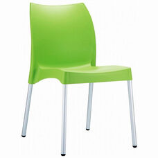 Vita Outdoor Resin Stackable Dining Chair with Aluminum Legs - Apple Green