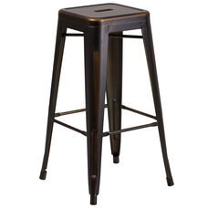 """Commercial Grade 30"""" High Backless Distressed Copper Metal Indoor-Outdoor Barstool"""