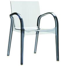 Dejavu Contemporary Polycarbonate See Through Arm Chair - Transparent Gray