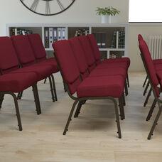 HERCULES Series 21''W Stacking Church Chair in Burgundy Fabric - Gold Vein Frame