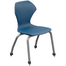 Apex Series Plastic Stack Chair with 14''H Seat - Navy Seat and Gray Frame - 17''W x 18.5''D x 26.75''H