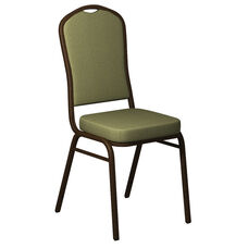 Crown Back Banquet Chair in Sherpa Leap Frog Fabric - Gold Vein Frame