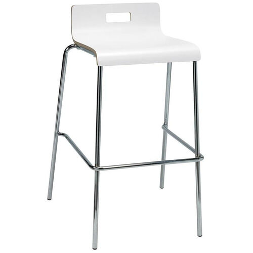 JIVE Series Stacking Bentwood Low Back Cafe Barstool with HPL Surface and Silver Steel Frame - White