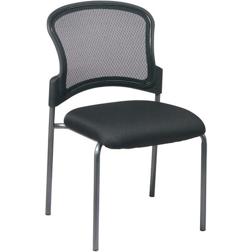 Pro-Line II Titanium Finish Visitors Stack Chair with ProGrid® Back and Straight Legs - Black