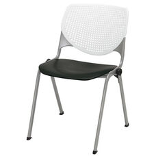 2300 KOOL Series Stacking Poly Armless Chair with White Perforated Back and Black Seat