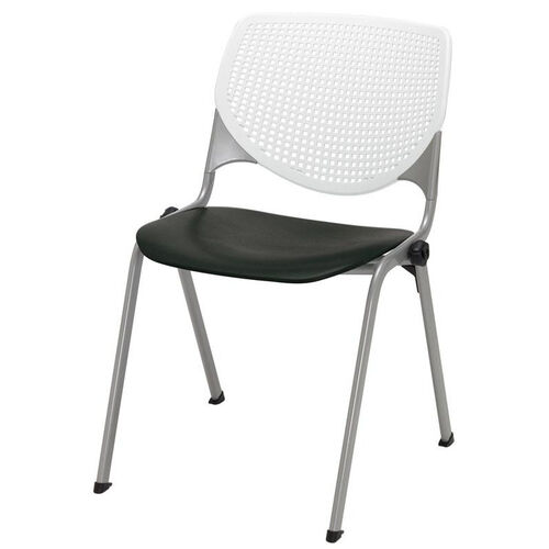 2300 KOOL Series Stacking Poly Armless Chair with White Perforated Back and Seat