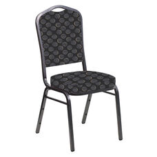 Embroidered Crown Back Banquet Chair in Cirque Black Fabric - Silver Vein Frame