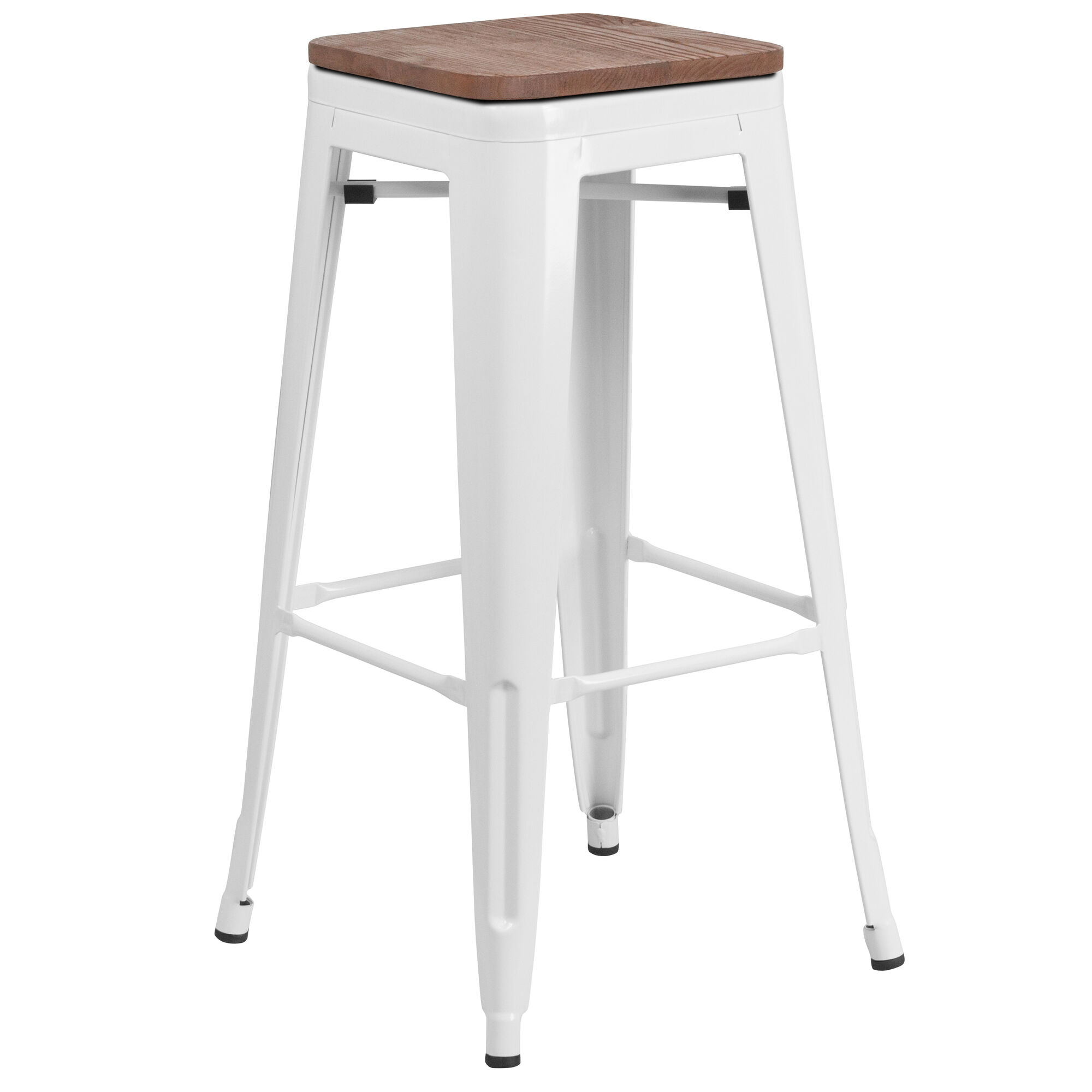 30 White Metal Barstool Ch 31320 30 Wh Wd Gg Stackchairs4lesscom