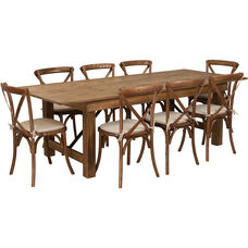 HERCULES Series 8' x 40'' Antique Rustic Folding Farm Table Set with 8 Cross Back Chairs and Cushions