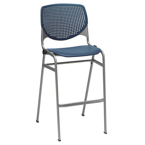 Our 2300 KOOL Series Stacking Poly Armless Barstool with Perforated Back and Silver Frame - Navy is on sale now.