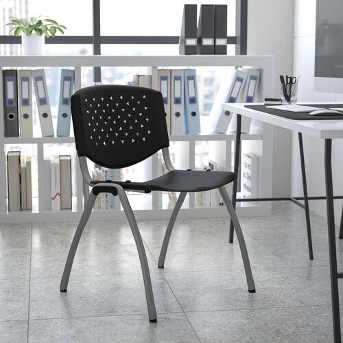 HERCULES Series 880 lb. Capacity Black Plastic Stack Chair with Titanium Gray Powder Coated Frame