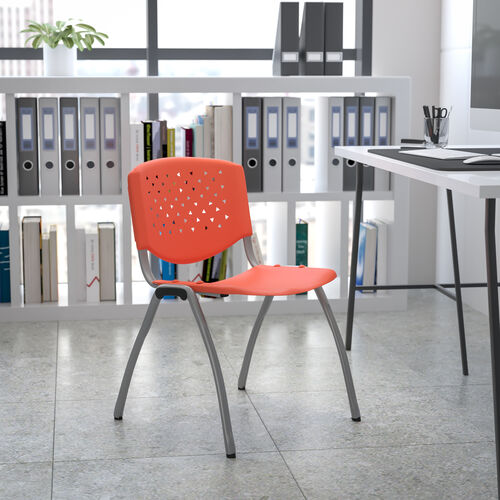 HERCULES Series 880 lb. Capacity Orange Plastic Stack Chair with Titanium Gray Powder Coated Frame