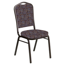 Crown Back Banquet Chair in Perplex Azure Fabric - Gold Vein Frame