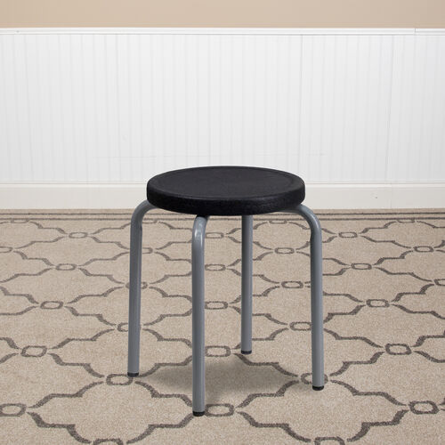 Stackable Stool with Black Seat and Silver Powder Coated Frame