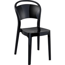 Bo Modern Polycarbonate Dining Chair - Glossy Black