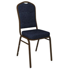 Crown Back Banquet Chair in Culp Fandango Admiral Fabric - Gold Vein Frame