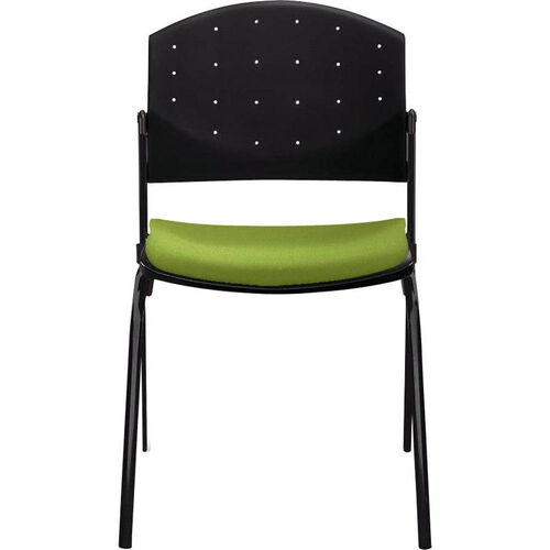 Eddy 4-Post Black Stack Side Chair with Upholstered Seat Pad