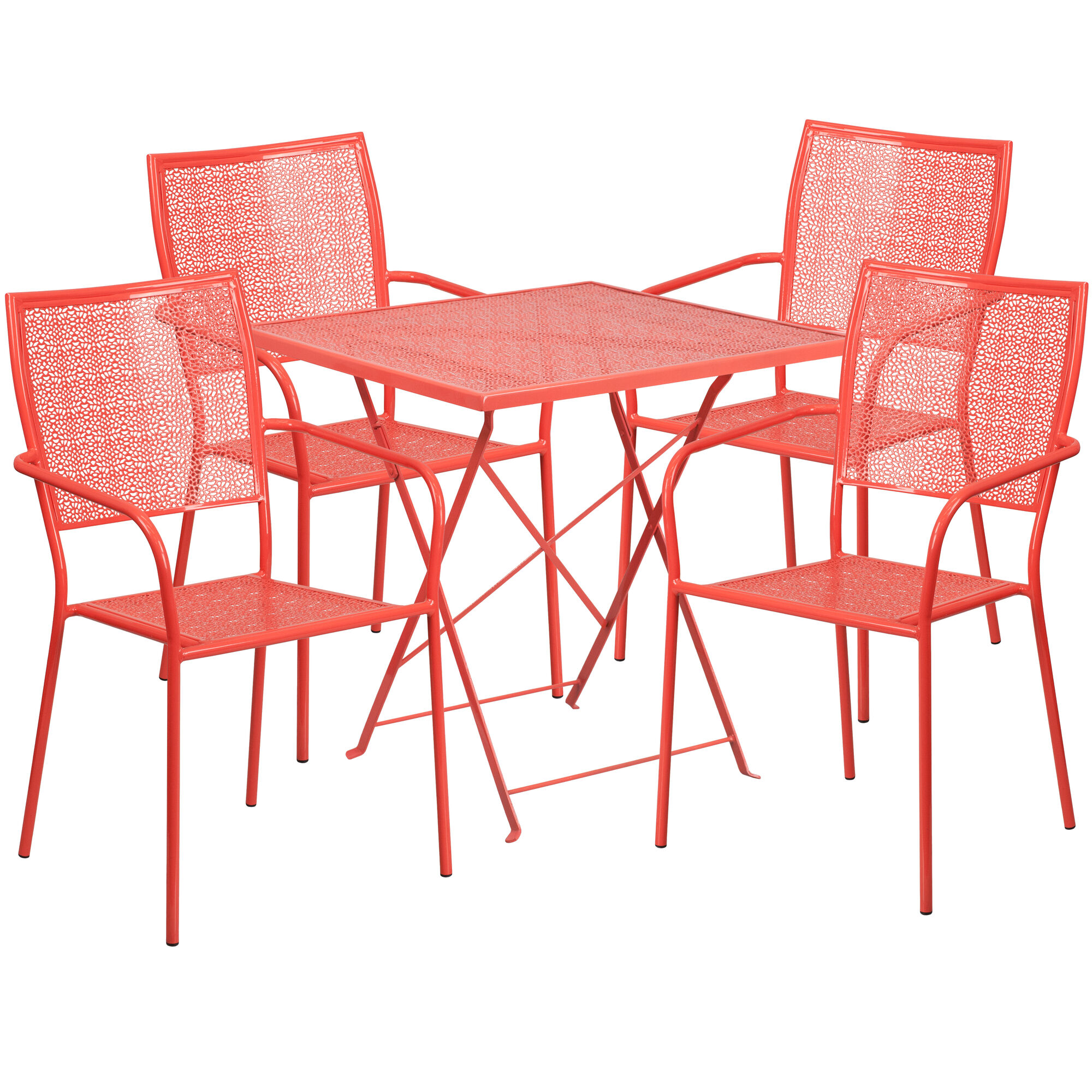 Enjoyable 28 Square Coral Indoor Outdoor Steel Folding Patio Table Set With 4 Square Back Chairs Gmtry Best Dining Table And Chair Ideas Images Gmtryco