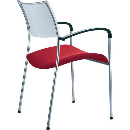 Open End Molded Back and Upholstered Seat Stack Chair