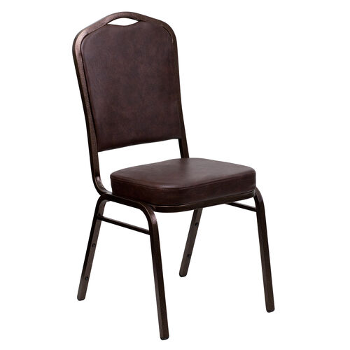 Our HERCULES Series Crown Back Stacking Banquet Chair in Brown Vinyl - Copper Vein Frame is on sale now.