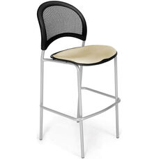 Moon Cafe Height Chair with Fabric Seat and Silver Frame - Khaki