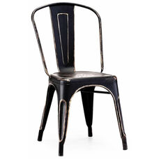 Dreux Stackable Vintage Matte Black - Gold Steel Side Chair - Set of 4