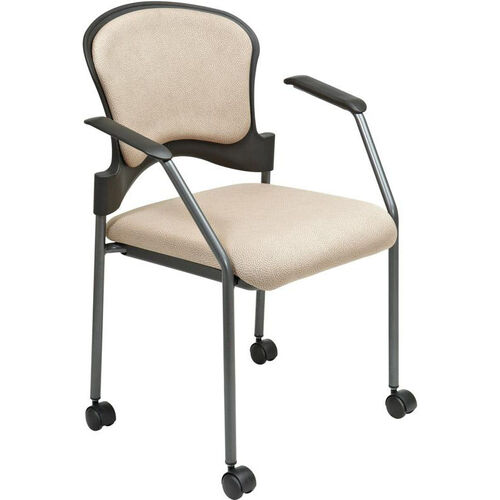 Pro-Line II Upholstered Contour Back Stacking Visitors Chair with Lumbar Support and Casters - Camel
