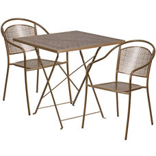 """Commercial Grade 28"""" Square Gold Indoor-Outdoor Steel Folding Patio Table Set with 2 Round Back Chairs"""