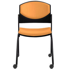 Eddy Armless Stack Side Chair on Casters with Upholstered Back and Seat Pads