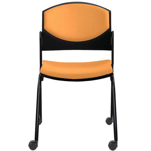 Our Eddy Armless Stack Side Chair on Casters with Upholstered Back and Seat Pads is on sale now.