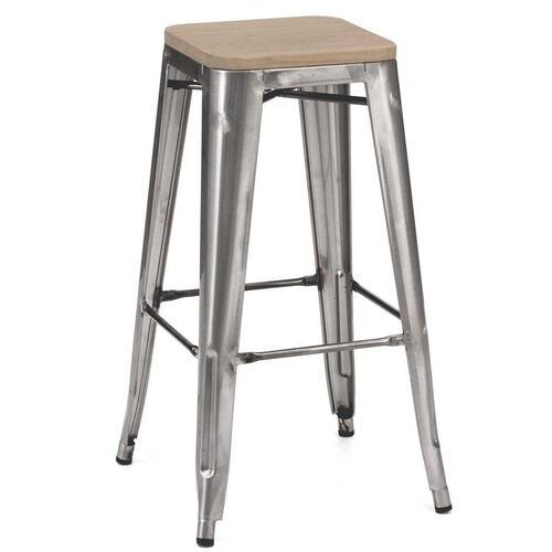 Our Dreux Stackable Steel Barstool with Light Elm Wood Seat - Set of 4 is on sale now.