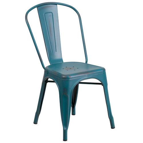 Our Distressed Kelly Blue-Teal Metal Indoor-Outdoor Stackable Chair is on sale now.