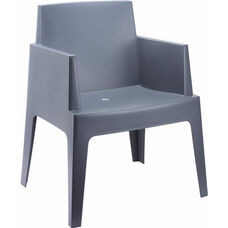 Box Resin Outdoor Stackable Dining Arm Chair - Dark Gray