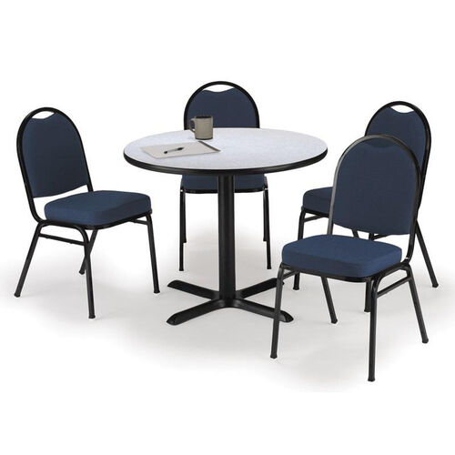 Round Laminate Table Set with X-Base and Blue Fabric Upholstered Stack Chairs - Seats 4