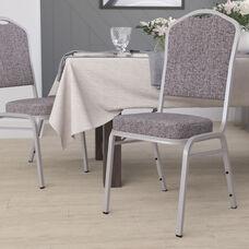 HERCULES Series Crown Back Stacking Banquet Chair in Herringbone Fabric - Silver Frame