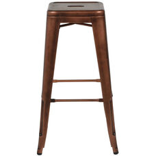 Oscar Steel Backless Stool - Brushed Rose Gold